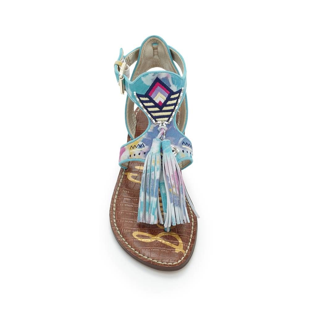 This season calls for luxe, ethnic extras and the Giblin gladiator delivers on all fronts: intricate embroidery edged with beading, pebbled-leather fringed tassels and contrasting trim make a bold, bohemian statement. Features square buckle closure at ankle and signature padded croco-sock for all day comfort.Material: Vaquero Leather, Naked Atanado Leather, Suede and/or Vaquero PU