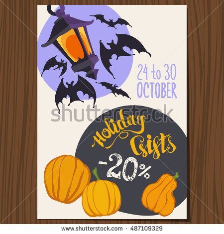 Vector Halloween Poster with Lantern, Bats, Halloween Pumpkins and - halloween poster ideas