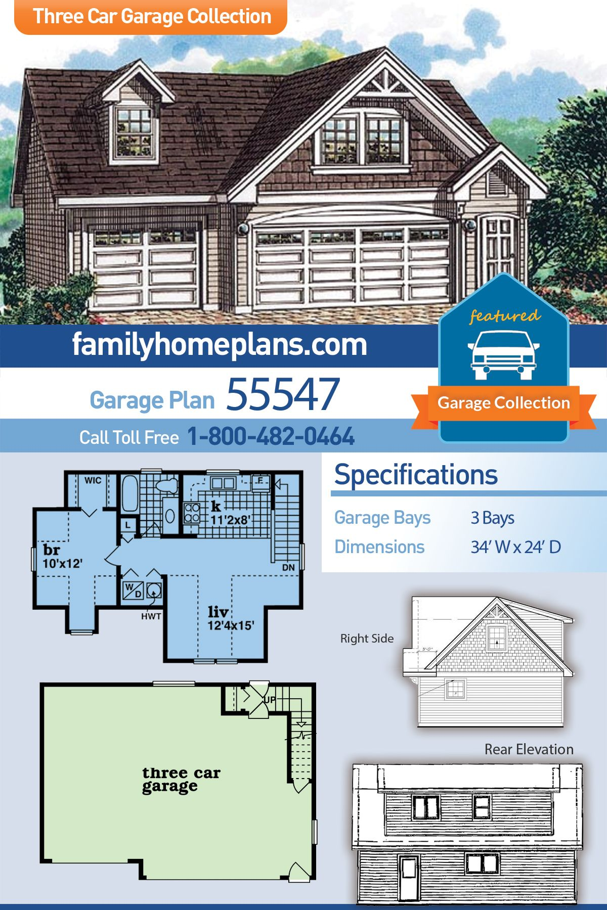 2 Car Garage Apartment Plan Number 76227 With 1 Bed 1 Bath Carriage House Plans Garage Apartment Floor Plans Garage Apartment Plan