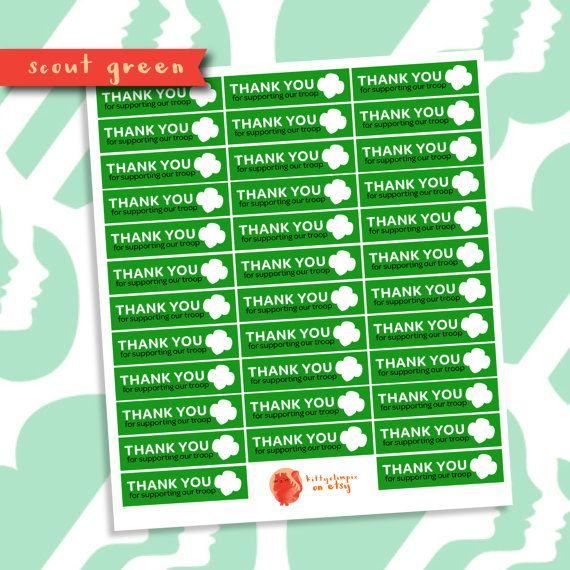 You print it girl scout thank you cookie box stickers 35 stickers 2 2 wide stickers put on gs cookie boxes to say thank you
