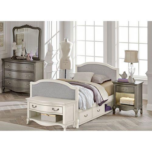 kensington antique white victoria upholstered panel full bed with rh pinterest de