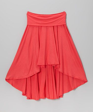 Another great find on #zulily! Coral Hi-Low Skirt by Rated G #zulilyfinds