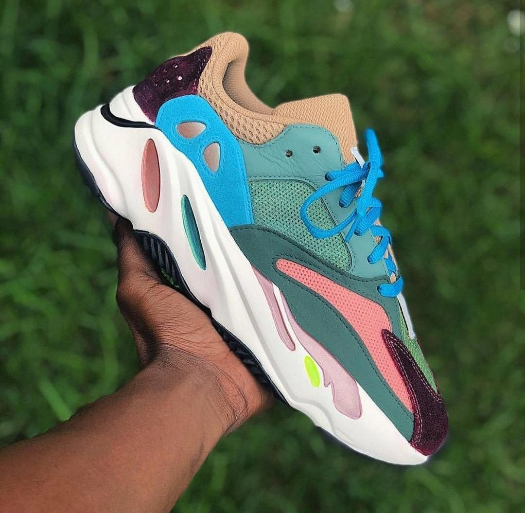 0a23329c4 What would you nickname these custom painted adidas yeezy 700's waverunners?  Done by @quonito #adidas #adidassneaker #customadidas #custompaintedadidas  ...