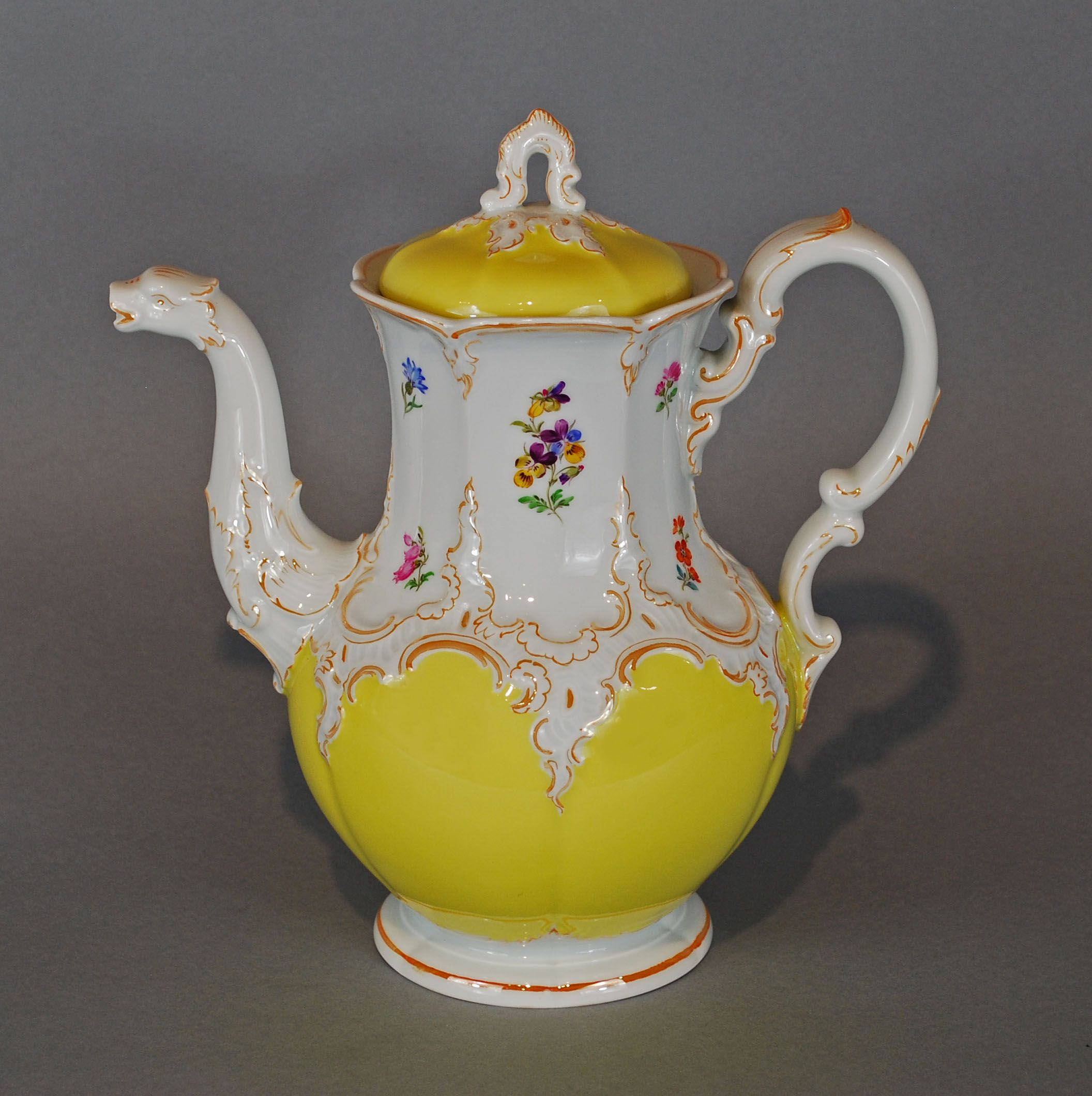 Meissen Porcelain Vintage Yellow Large Coffee Tea Pot with Flowers