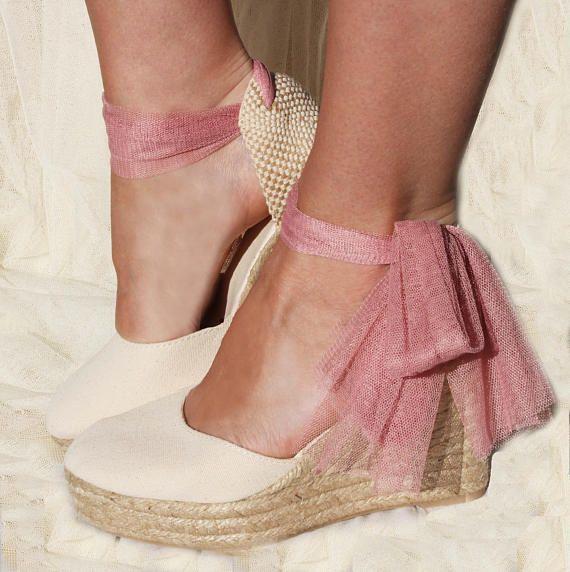 fe789d21f9907 CHLOE Medium Wedge Lace Up Espadrille Wedding Bridal shoes ...