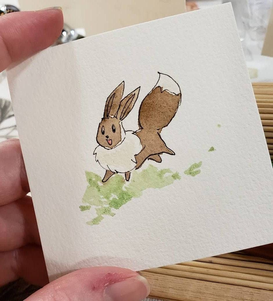 Eeveelution Watercolor Paintings made by Amber Stone -