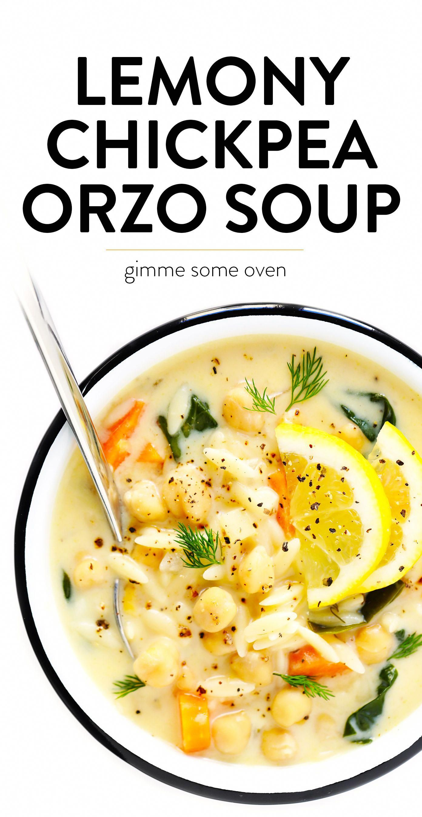 LOVE this Lemony Orzo Chickpea Soup recipe! It's a vegetarian spin on Greek avgolemono soup, bright