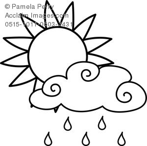 Sun Rain Cloud Unicorn Coloring Pages Rainbow Clipart Coloring