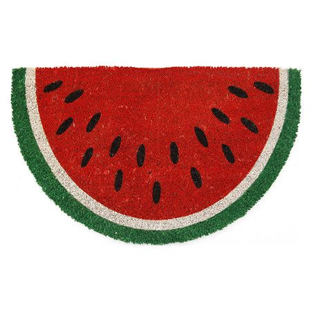 Crafted of natural coir, this handmade doormat offers charming style with a watermelon motif.    Product: DoormatConstru...