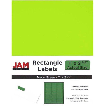 JAM Paper Mailing Address Labels, 2-5/8 inch x 1 inch, Neon