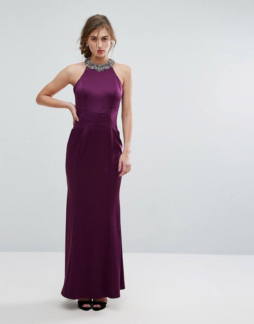 31b877be7e Little Mistress Embellished High Neck Fishtail Maxi Dress - Purple ...