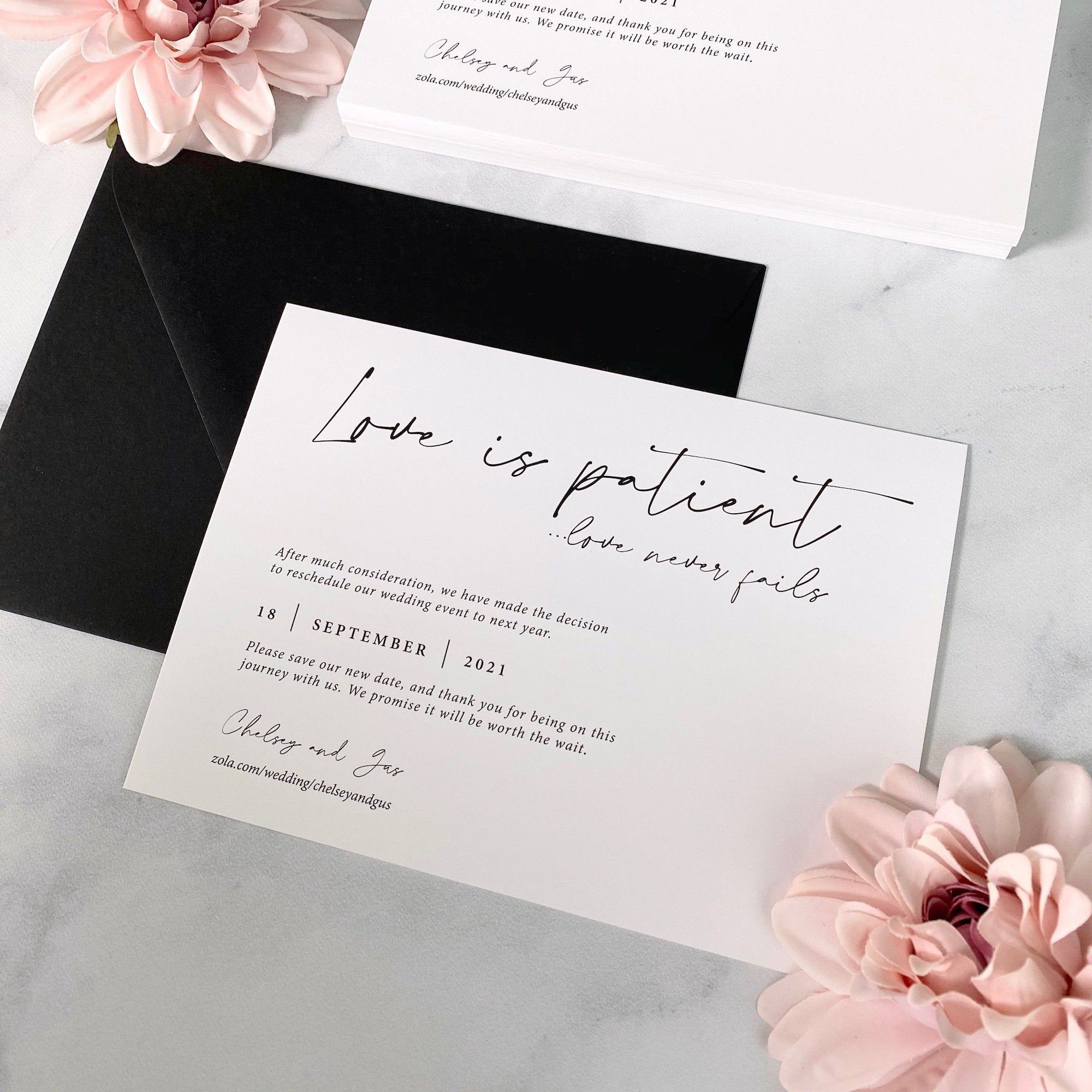 Change the date card love is patient wedding