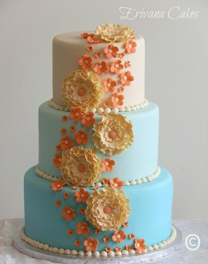 Tiffany Blue And Coral Wedding Cake