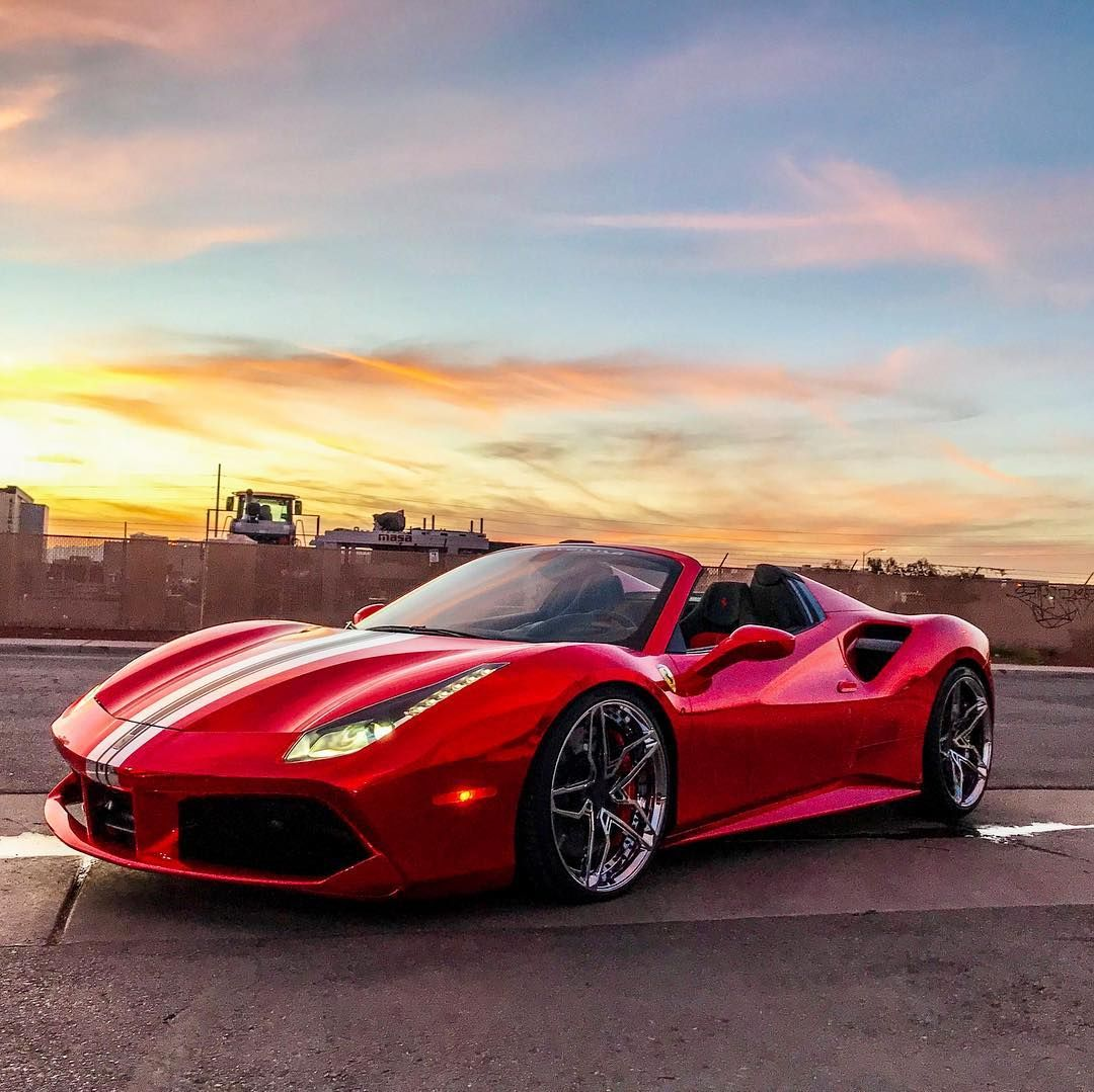 Good Morning From Vegas Red Chrome Ferrari 488 Spider With