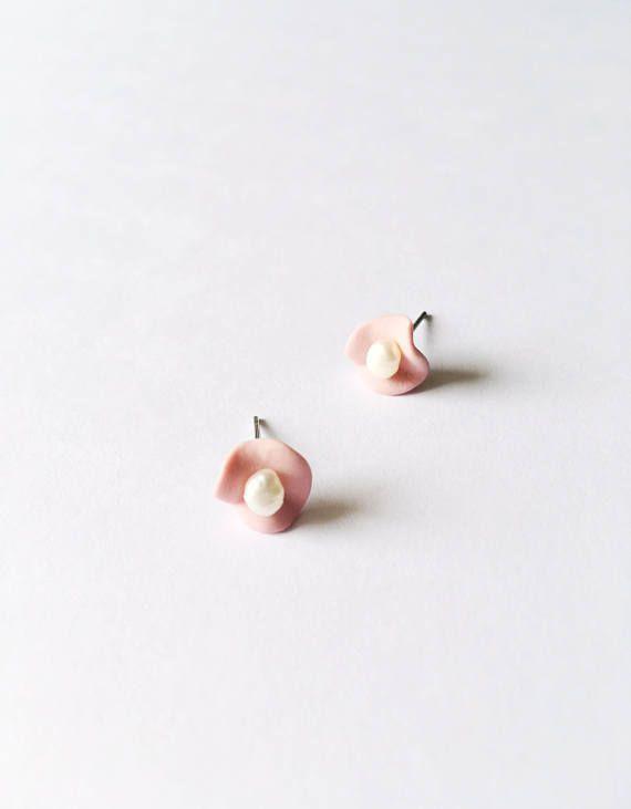 Pink Ceramic Flower Stud Earrings