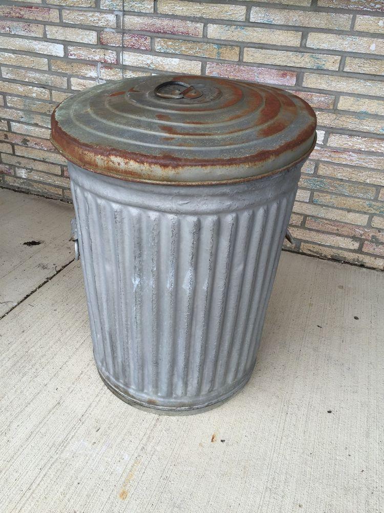 Antique Reeves Us Garbage Trash Can Waste Bin 24 Gal Steampunk