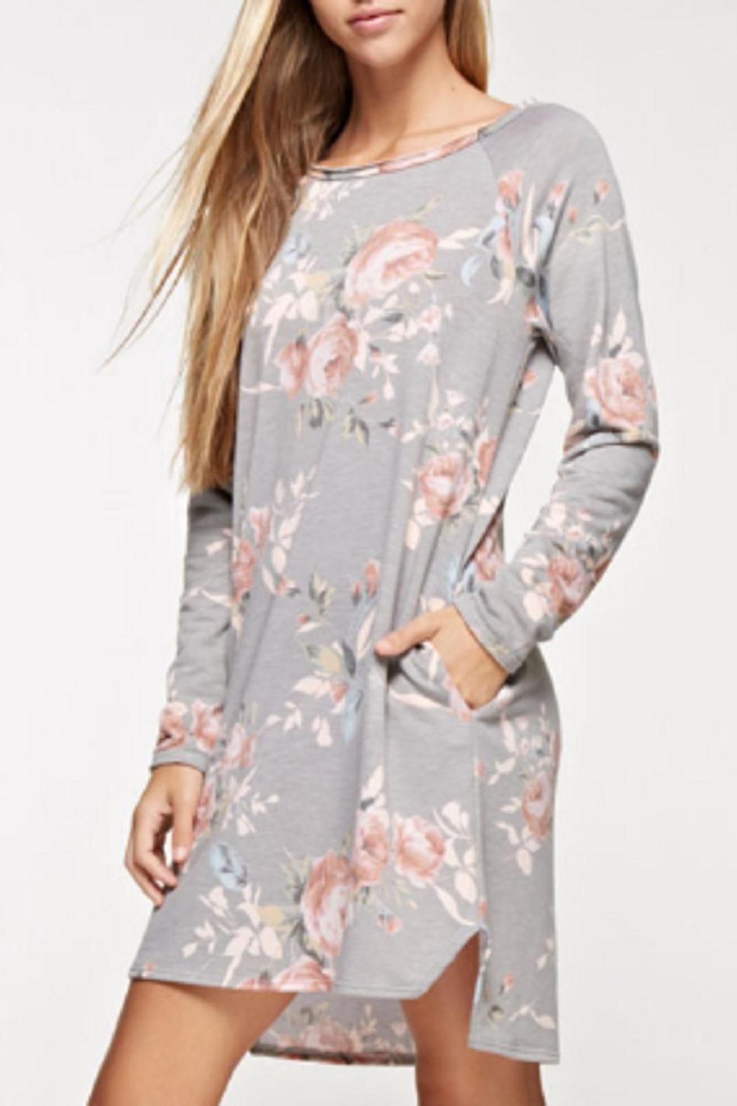 ceac0a8c81c Ever so cozy ever so cute grey long sleeve floral dress with pockets. Grey Floral  Dress by 12pm by Mon Ami. Clothing - Dresses Kansas