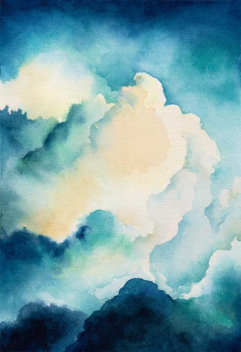 Whimsical Cloud Watercolor Art Print Museum Quality Archival