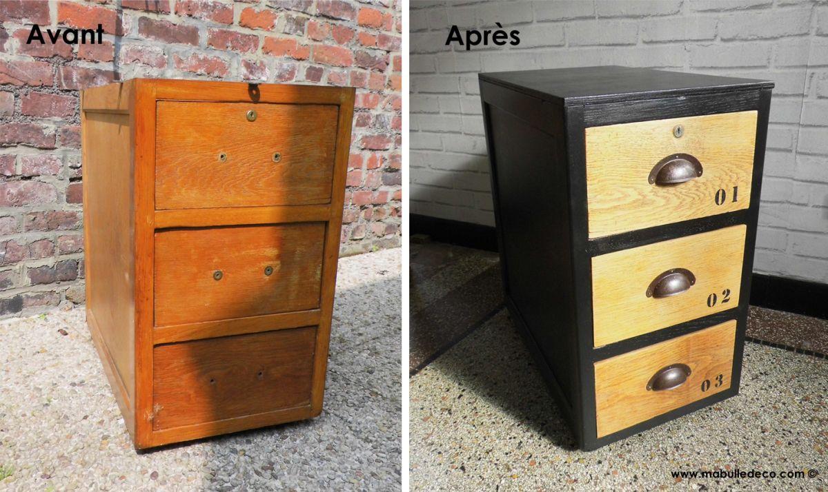 J avais r cup r deux caissons de bureau sur le trottoir il y a d j un certain temps rang s - Restauration meuble industriel ...