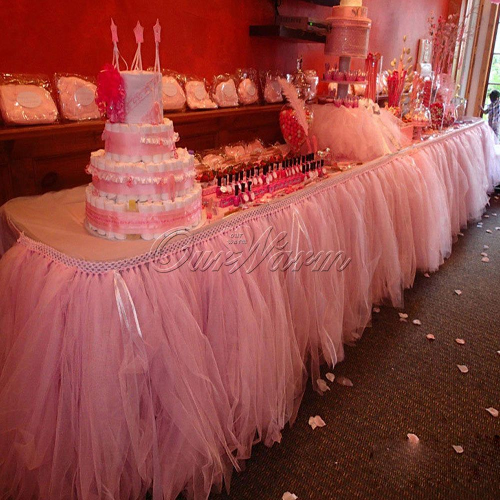 2Pcs Tulle Tutu Table Skirt Wedding Girl Princess Birthday Tableware ...
