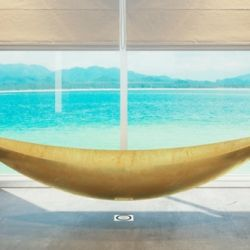 I need this with this view too. An awesome bathtub that is designed to float above the ground, like a hammock.
