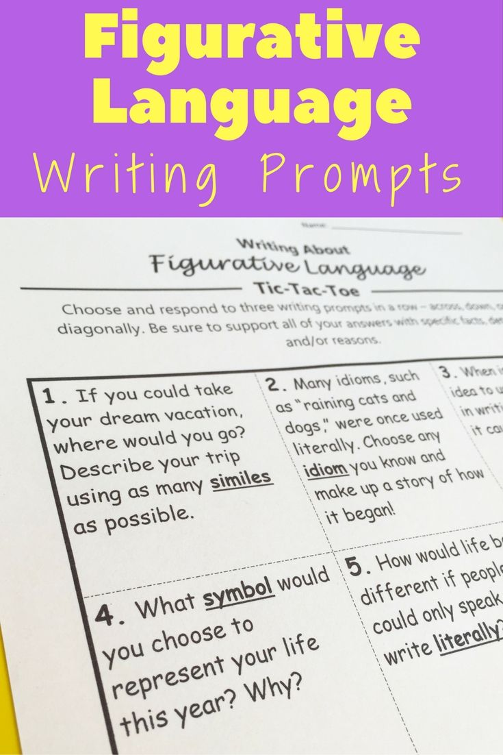 Figurative Language Writing Prompts - Tic Tac Toe | Simile, Tic ...