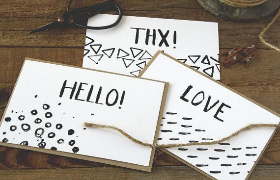 Blank Note Cards, Set of 12, for any occasion, brush lettering, LUX, kraft envelope