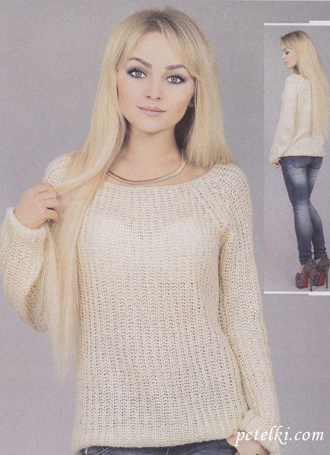 пуловер реглан английской резинкой Knitt Vse вязание свитер и
