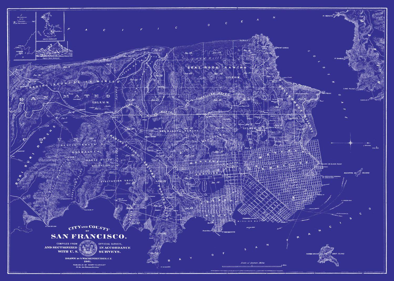 1861 san francisco street map vintage 20x30 blue by themapshop 1861 san francisco street map vintage 20x30 blue by themapshop 2995 malvernweather Choice Image