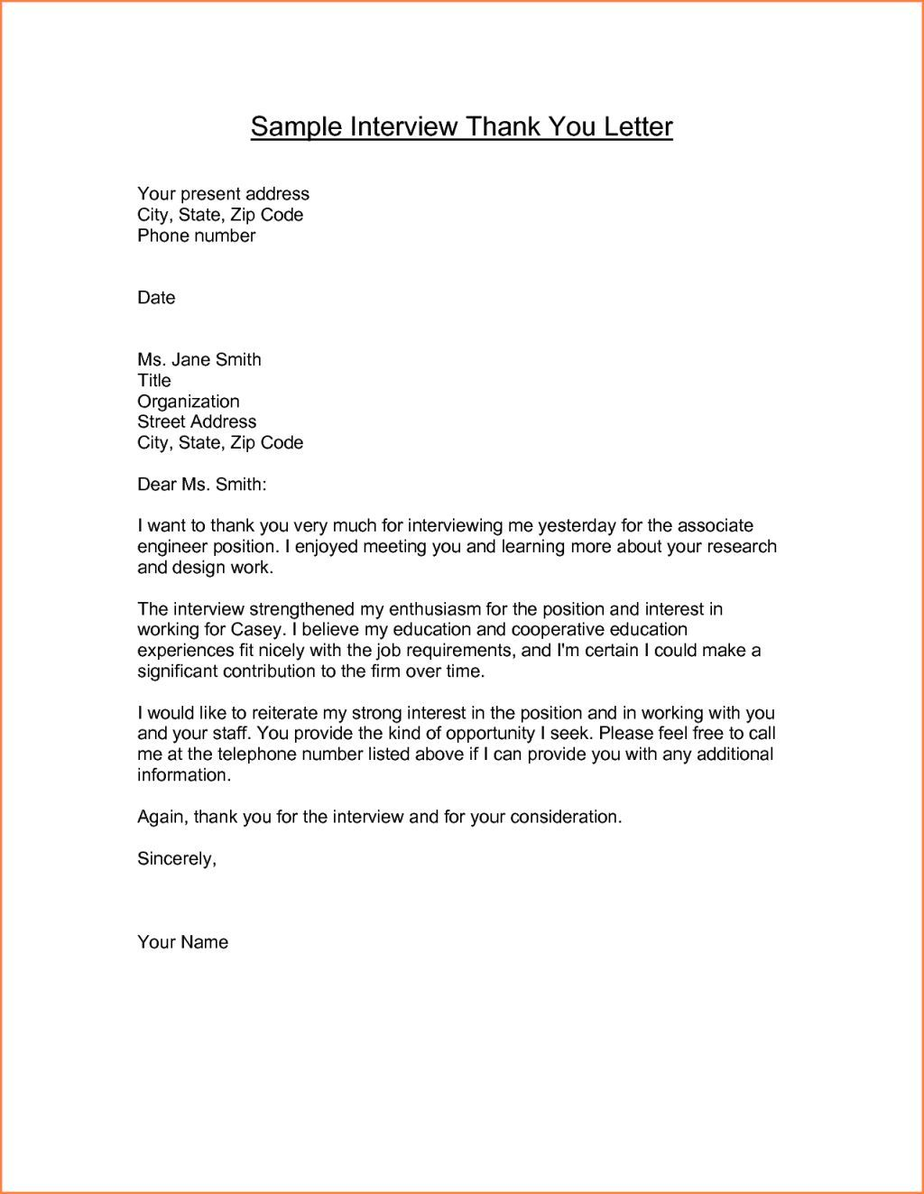 sample thank you letter for interview email letter format ...