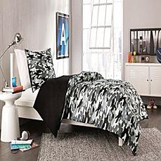 image of Derek Reversible TwinTwin XL Comforter Set in Black