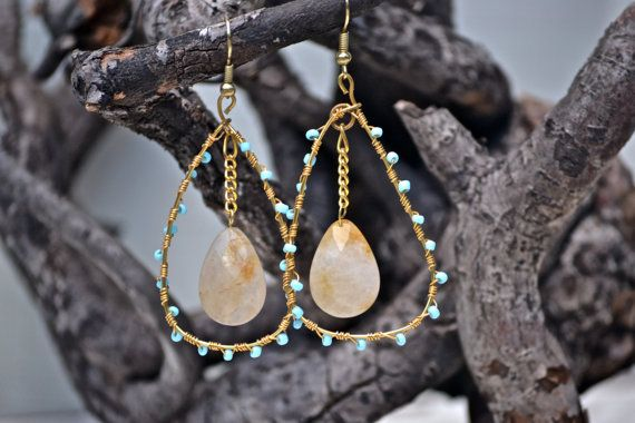 Blue Bead Wire Wrapped Earrings with Natural by MichellesMarket, $25.00