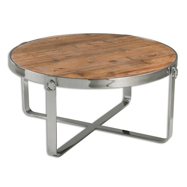 Round Weathered Wood Coffee Table