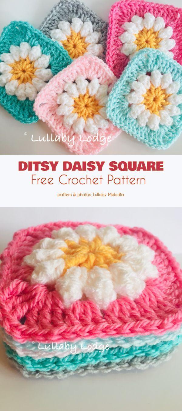 Ditsy Daisy Granny Square Free Crochet Pattern #grannysquareponcho