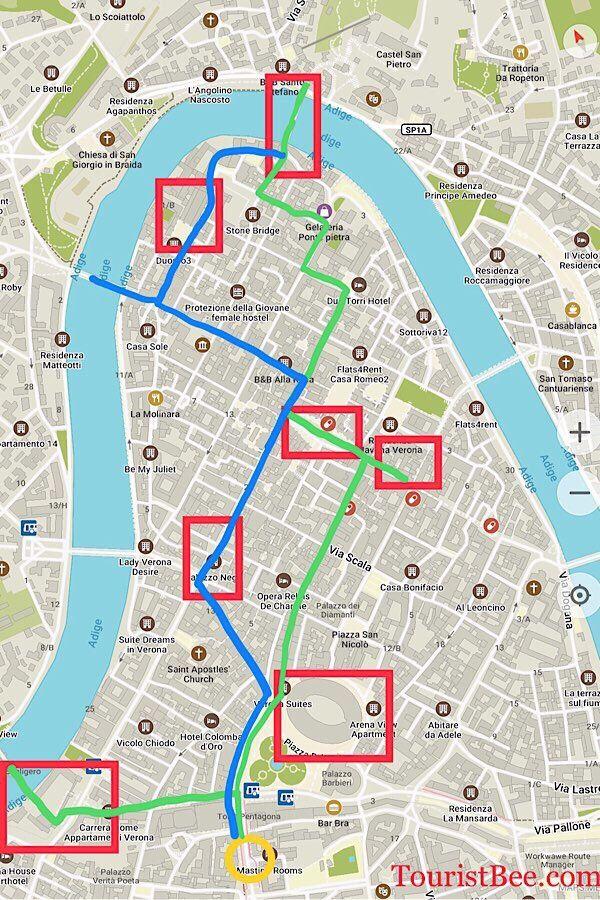 A Charming Walking Tour Of Verona Italy Misc Verona Map