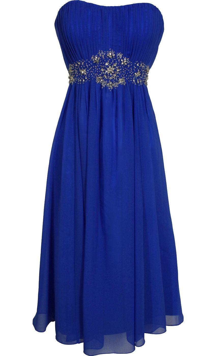 Strapless chiffon goddess gown prom dress formal kneelength junior