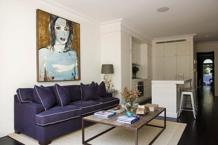 Marvelous Chic Living Room Features Art Over Purple Sofa With White Theyellowbook Wood Chair Design Ideas Theyellowbookinfo