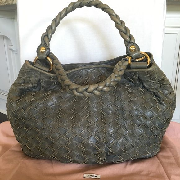 Miu Miu moss green woven leather shoulder bag Authentic Miu Miu woven  leather shoulder hobo bag in faded moss green. It is much loved and shows  on the ... 4b5ae63d79b8b