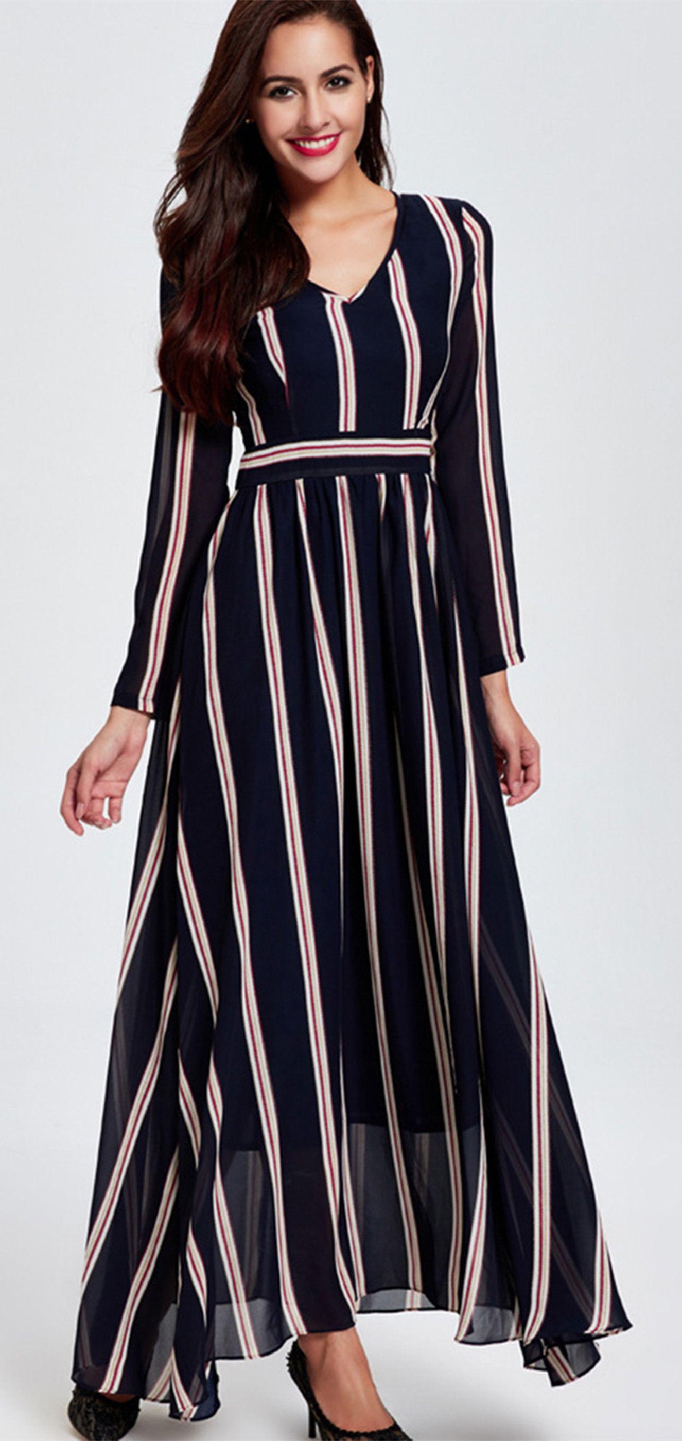 Vertical Striped V Neck Empire Waist Maxi Dress Stripped Maxi Dresses Women Long Sleeve Dress Empire Waist Maxi Dress [ 2800 x 1325 Pixel ]