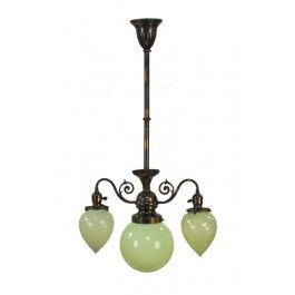 Early 20th Century American Victorian Era Oxidized Copper Residential Ceiling Light Fixture With Vaseline Ph Art Deco Lighting Light Fixtures Period Lighting