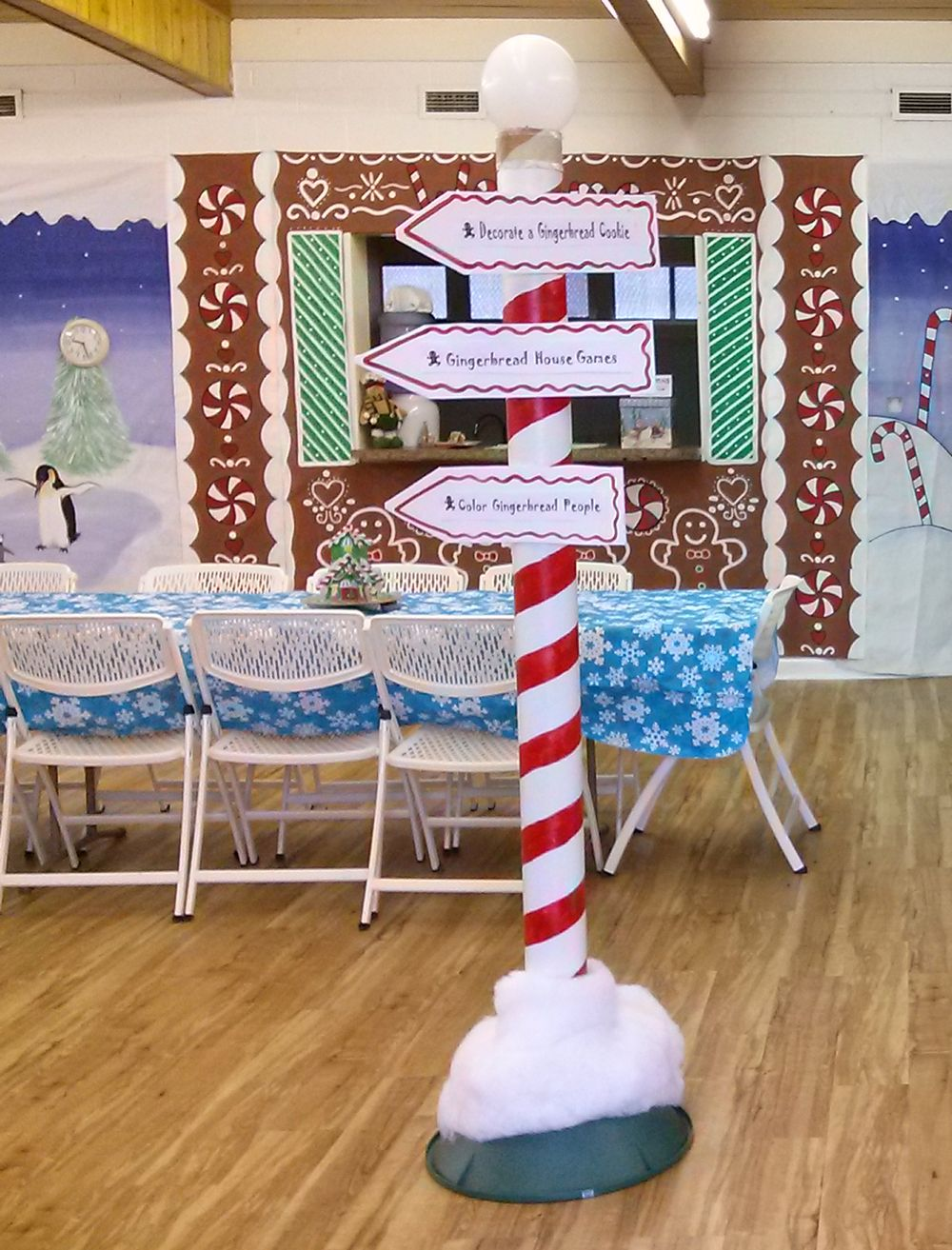 The North Poles Are Made Out Of Cardboard Carpet Rolls Painted Striped Red With A White Bal Christmas Tree Stand How To Make Christmas Tree Christmas Balloons