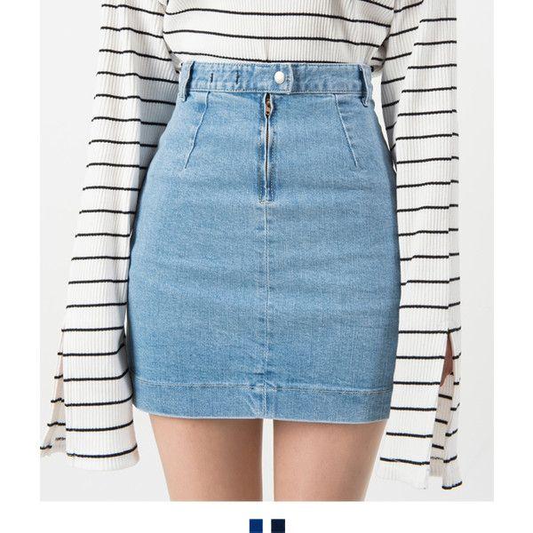 Patch Pocket High Waist Denim Mini Skirt liked on Polyvore ...