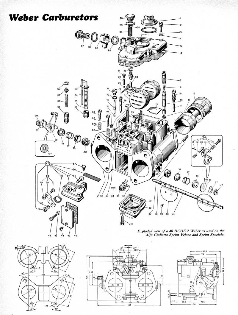 exploded view of weber 40 dcoe 2