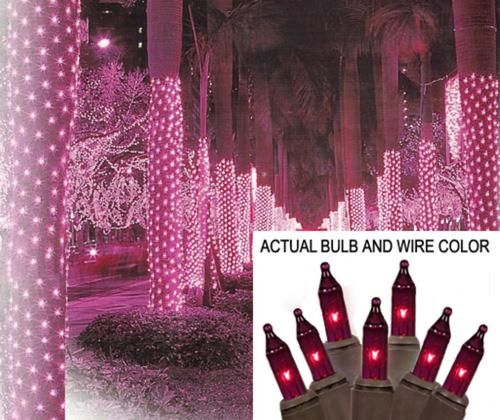 2 x 8 purple mini christmas net style tree trunk wrap lights brown wire
