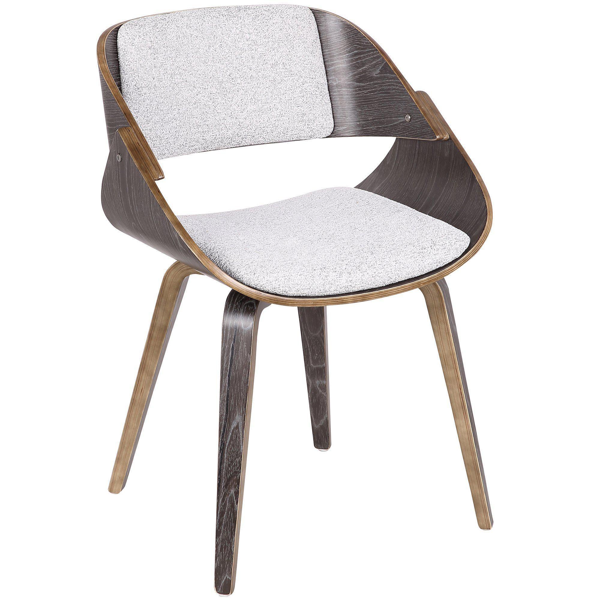 Fortunato Mid Century Modern Diningaccent Chair In Dark Grey Wood