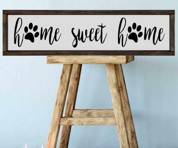 Paw Prints, Home Sweet Home Sign, 24x6 Farmhouse Style