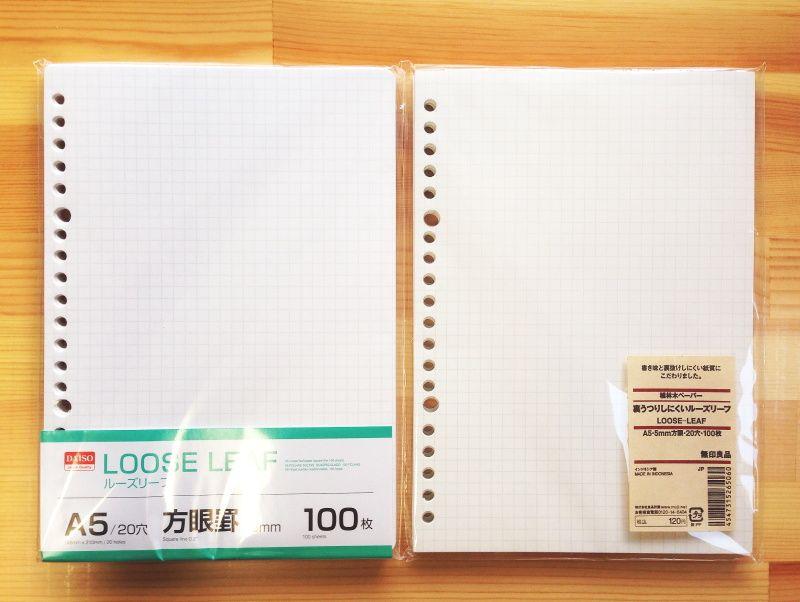 ダイソー・無印良品]の方眼ルーズリーフ・A5サイズを比較