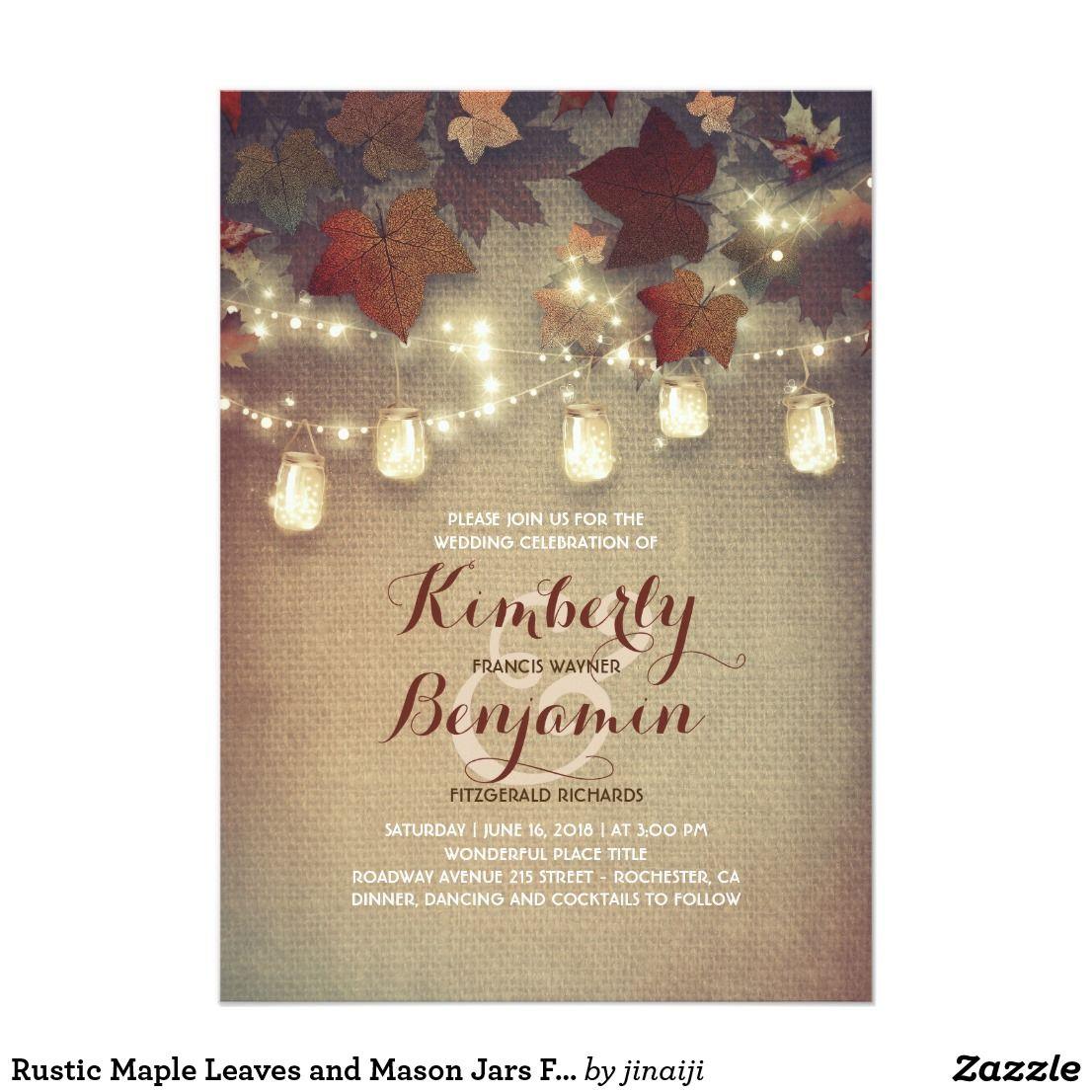 Rustic Maple Leaves and Mason Jars Fall Wedding Card Maple leaves ...