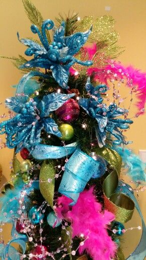 2016 Feathery Blue Pink Green Tree