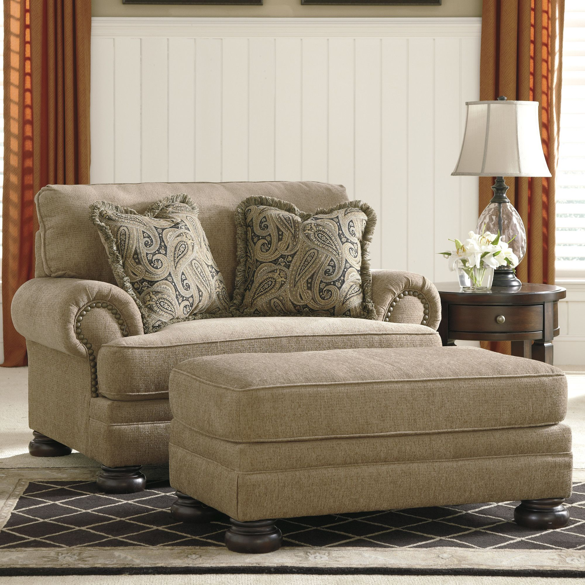 44b38b0c4044 Signature Design by Ashley Dozier Dozier Chair and a Half and Ottoman    Reviews
